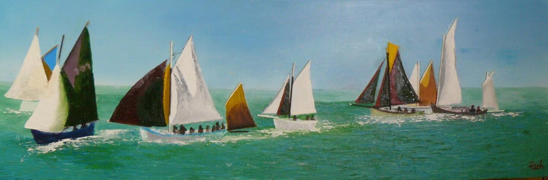 Pich - Flottille en pertuis régatant dans la baie de La Flotte