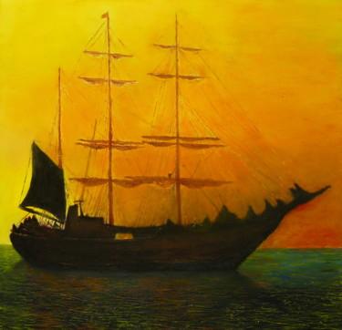 Picton Castle, barque à trois mâts au soleil couchant